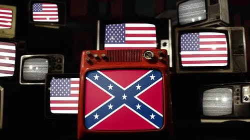 Confederate Rebel Flag and United States Flags on Retro TVs.