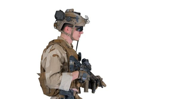 Thumbnail for US Army ranger in uniform and weapon walking on white background.