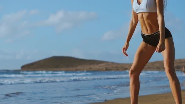 Thumbnail for Fitness Young Woman Working Out Core and Glutes with Bodyweight Workout Doing Squats