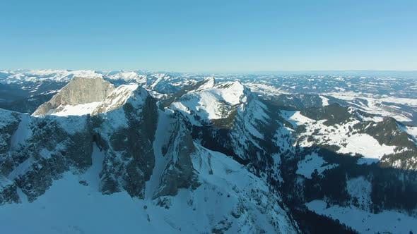 Thumbnail for Mount Pilatus and Snow-Capped Mountains in Winter. Switzerland. Aerial View