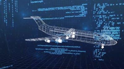 Digital 3D model of an aeroplane