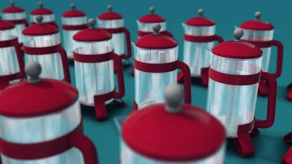 French Press Machines With Red Details In A Row In Blue Background Hd