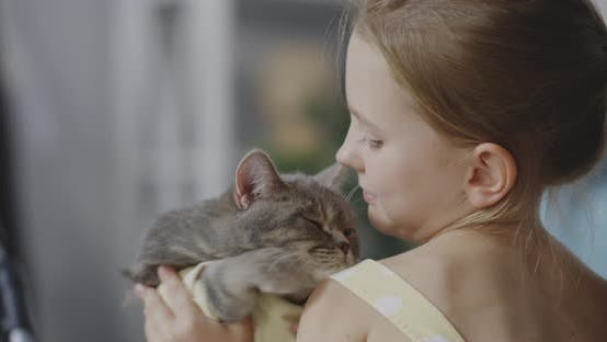 Thumbnail for Girl Holding and Kissing Cat