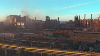 Blast Furnace View From the Air. Old Factory. Aerial View Over Industrialized City with Air