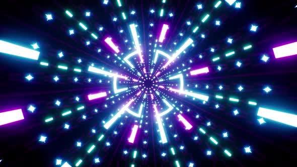Neon Light Beam Rotation Background Loop 4K