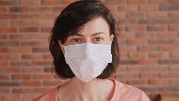 Caucasian Female in Protect Mask