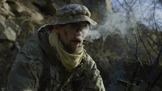 Thumbnail for Soldier Taking a Break and Smoking