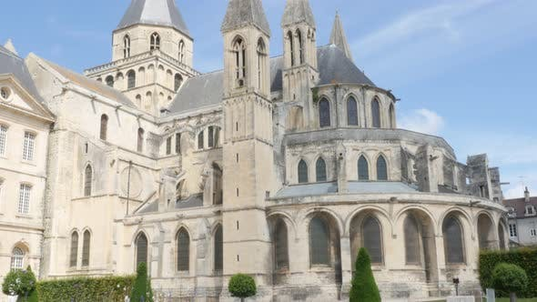 Famous Abbaye aux Hommes William the Conquerer abbey church by the day 4k 3840X2160 slow tilt UltraH