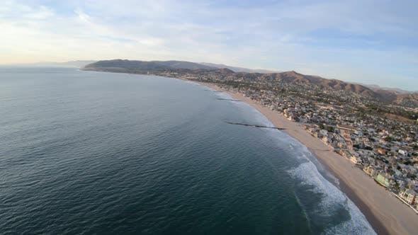 Thumbnail for Flying Along Ventura California Usa Coast Above Beach And Waterfront Homes