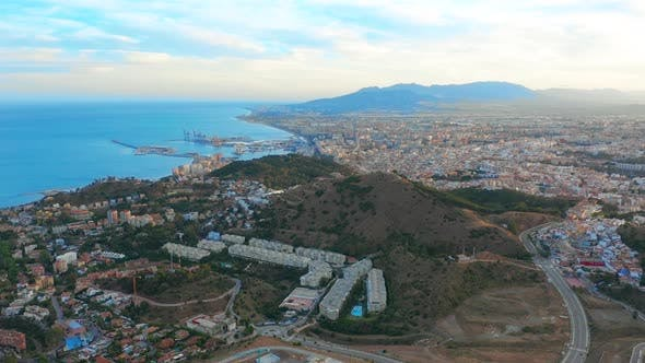 Thumbnail for Aerial View of Malaga Costa Del Sol with the Sea and Mountains Surrounding It