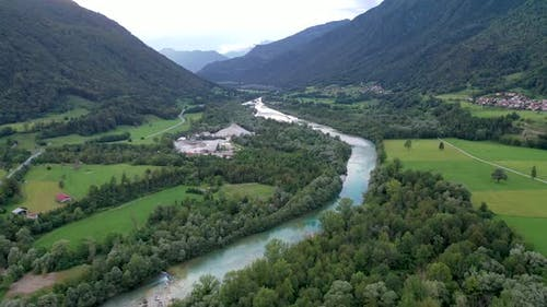Aerial view of soca river surrounded by beautiful mountains