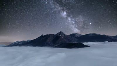 Milky Way over Mountains Blue Night