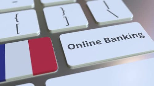 Online Banking Text and Flag of France on the Keyboard