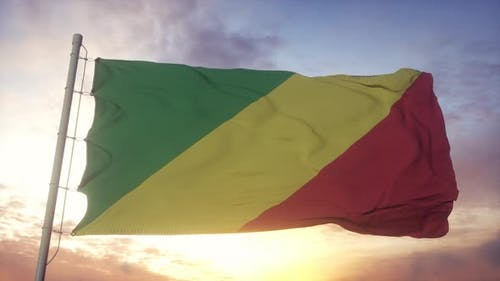 Republic of the Congo Flag Waving in the Wind Sky and Sun Background