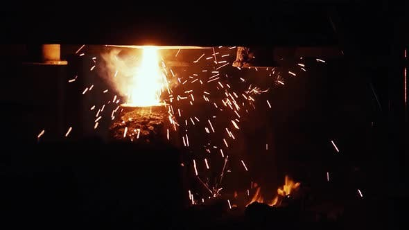 Thumbnail for Molten Metal in the Spark Shower in a Blast Furnace at a Steel Plant.