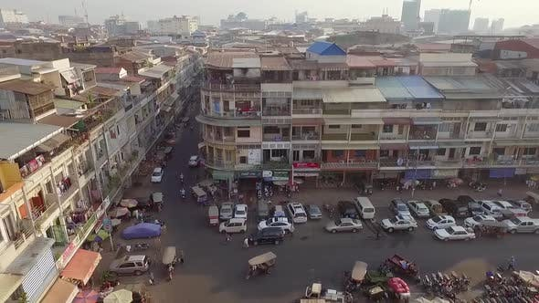 Thumbnail for Aerial view of crowded building neighborhood, Phnom Penh, Cambodia.