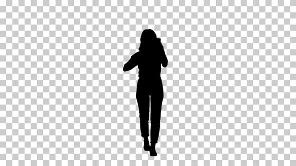Thumbnail for Silhouette walking girl Alpha Channel
