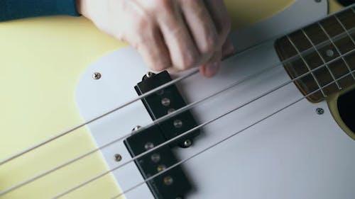 Skilled Musician Plays Large Metal Strings of Bass Guitar