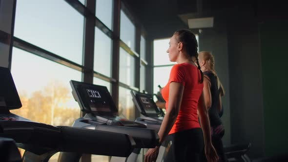 Thumbnail for A Group of People Walking on Treadmills Near a Large Panoramic Window. Group Cardio Workout. Start
