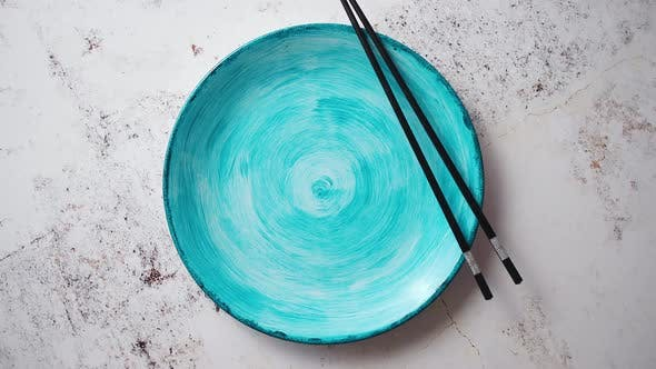 Thumbnail for Turquoise Hand Painted Ceramic Serving Plate with Wooden Chopsticks on Side