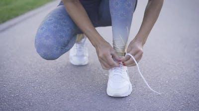 Shoe Lace Tie On Sneaker