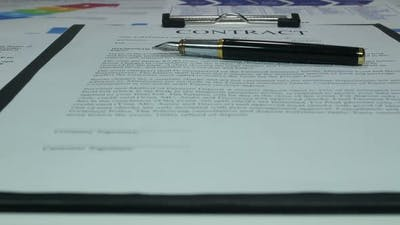 Business Contract Of Financial Company In The Office Of The Company