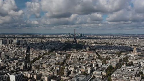 Paris, France, Timelapse  - Wide angle view of the Eiffel Tower during the day