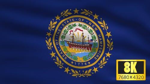8K New Hampshire State Flag Background