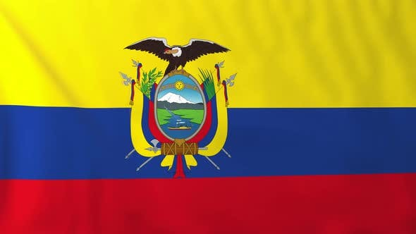 Thumbnail for Flag of Ecuador waving in the wind, seemless loop animation