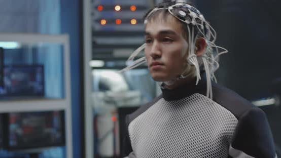 Astronaut Walking with Sensors on His Head