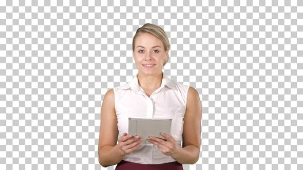 Beautiful Girl Holding a Tablet Touch Pad Computer Gadget Swiping