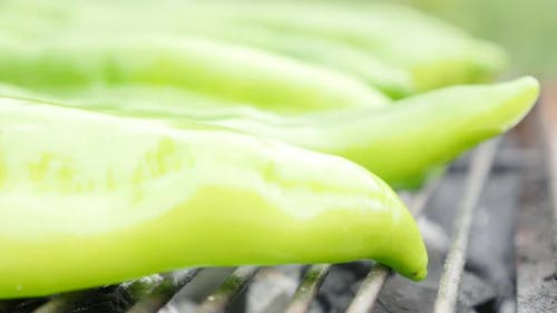 Fresh green peppers on bbq smoke grilling close-up 4K 2160p UltraHD footage - grilled organic pepper