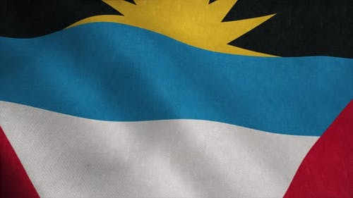Antigua and Barbuda Flag  Realistic Waving Fabric Flag
