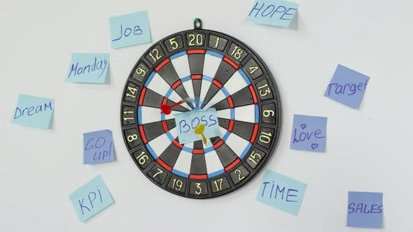 Cover Image for Darts Being Thrown at Motivational Target