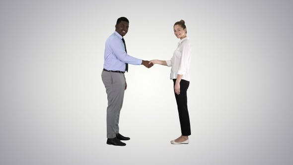 Thumbnail for Handshake of business woman and business man posing for