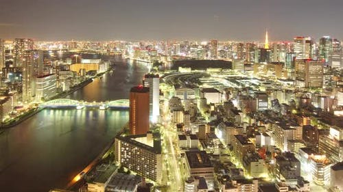 NachtZeitraffer Tokyo Japan Ctyscape