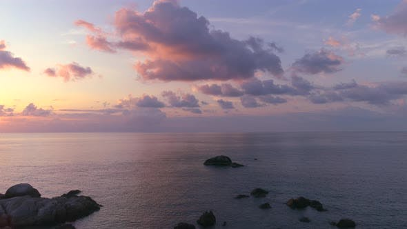Cover Image for Aerial View on Sunset over Sea