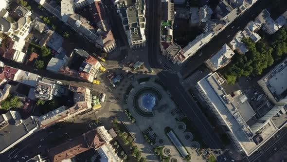 Thumbnail for Birds Eye View of Maidan Nezalezhnosti Sqaure. Revolution Place Kyiv, Ukraine. Khreshchatyk Street