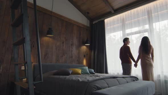 Romantic Couple In Hotel Room