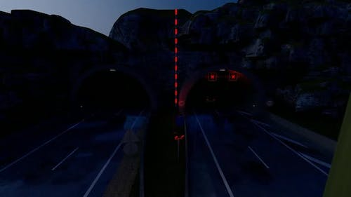 Vehicles that enter the tunnel fast at Night
