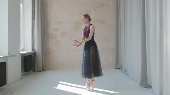 Thumbnail for Performance of a Fragile Ballerina Against the Background of Large Panoramic Windows and Curtains