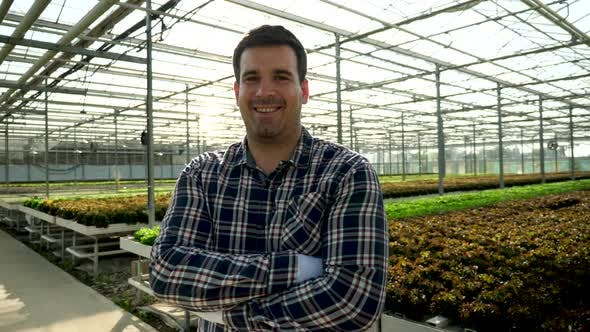 Cover Image for Young Agronomist in a Greenhouse with Growing Green Salad