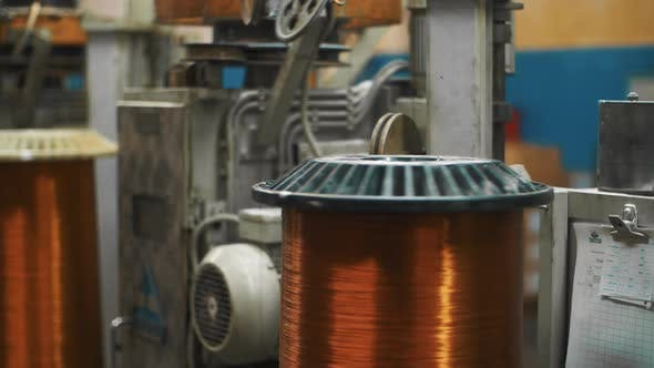 Thumbnail for Automatic Equipment Rolling Copper Cable on Reel at Factory. Bronze Wire Cable