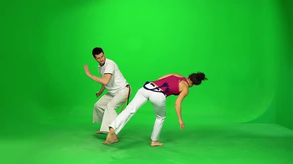 Thumbnail for Couple Are Practicing Capoeira on Chroma Key.