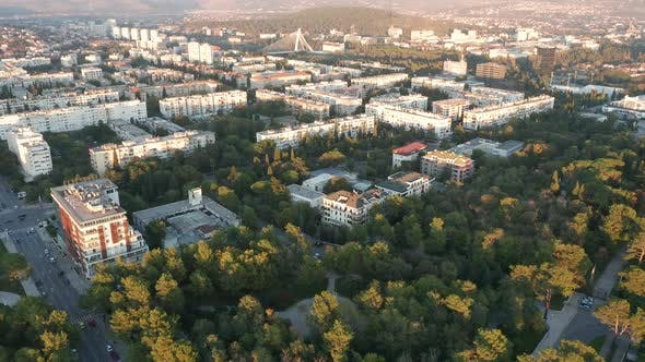 Thumbnail for Parks and streets lined with evergreen trees in a sustainable eco city - green urbanism