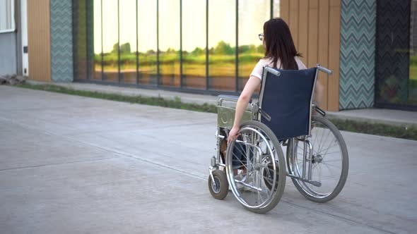 Thumbnail for Young Woman in a Wheelchair. A Girl Rides in a Wheelchair Against the Background of a Glass Building