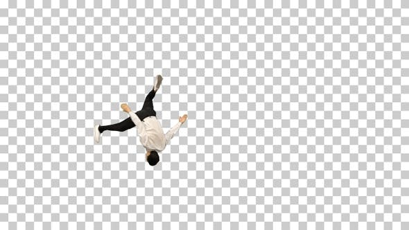 Thumbnail for Young man in white shirt doing back flip, Alpha Channel