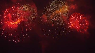 Big Fireworks at Night Sky
