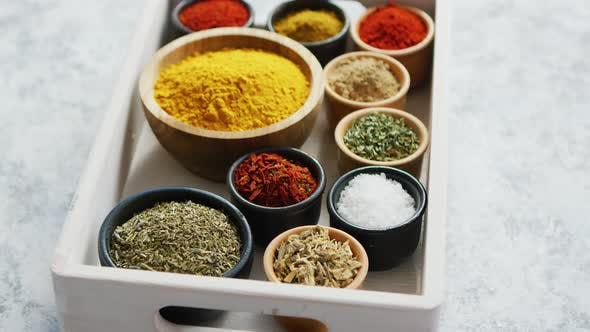Thumbnail for Wooden Box with Assortment of Spices