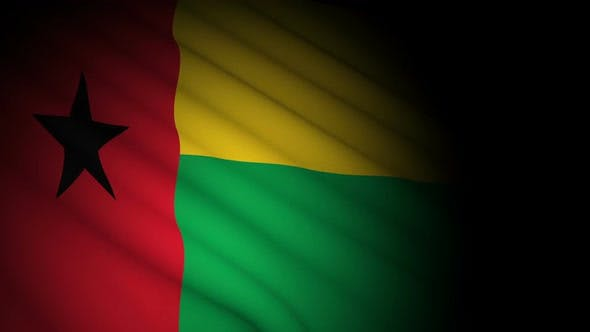 Guinea Bissau Flag Blowing in Wind